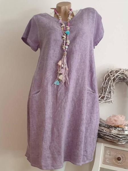 lila Kleid 38 40 42 Kurzarmkleid Baumwolle Italy A-Linie Taschen