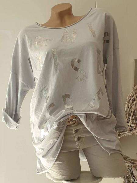 Longsleeve Tunika Shirt grau Metallic 38 40 42 Baumwolle Rollbündchen