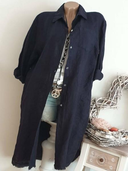 dunkelblau nachtblau 100% Leinen long Bluse Hemdbluse 38 40 42 44 Mantel
