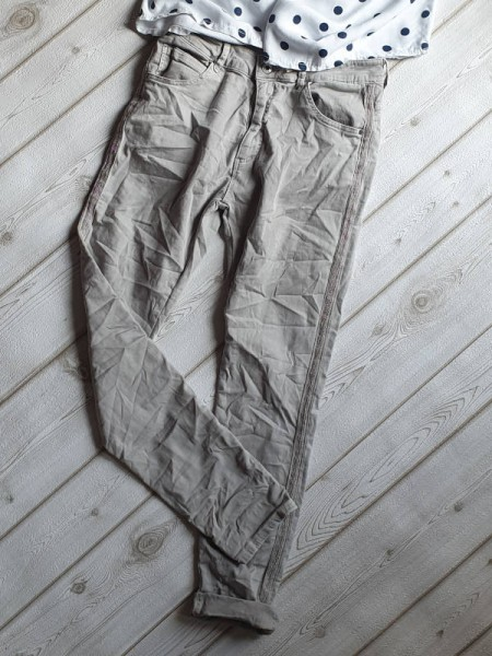 hellgrau Skinny MELLY & CO Hose XS 34 silber Metall Perlen Streifen Jeans