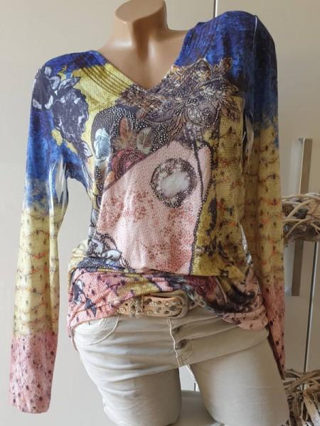 Shirt S 36 MISSY Langarmshirt Longsleeve Abstrakter Print Glitzer Nieten Tunika