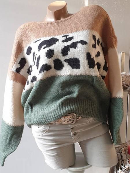 flauschiger Lagenlook Pullover kürzer bunt NEU 36 38 40 mit Lurexgarn Pulli