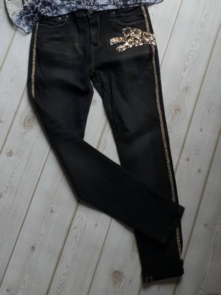 coole Jeanshose Stickerei Glitzer Leopard L 40 = 38 Jeans Skinny Stretch Hose