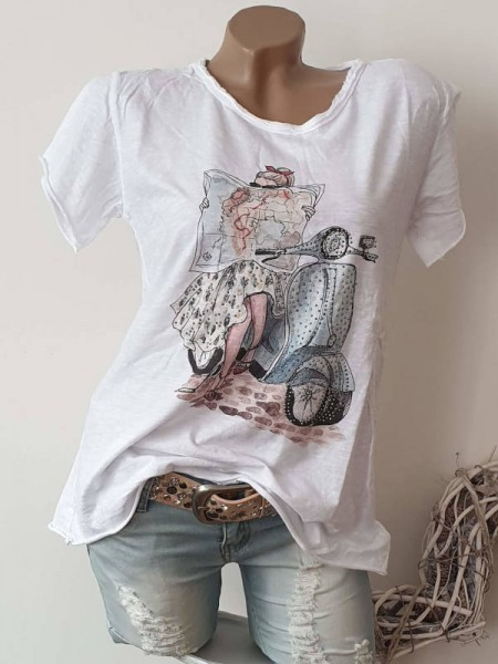 T-Shirt Shirt 36 38 40 42 Tunika Roller Mädchen weiss Nieten Print unfinished