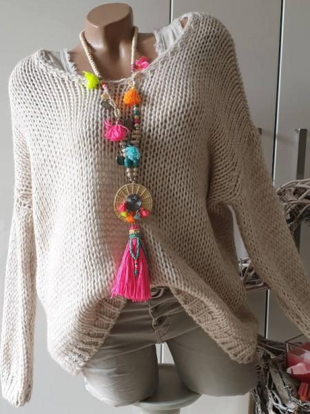 beige oversized Grobstrick Knit Pullover 38 40 42 44 Pulli Ärmel überschnitten