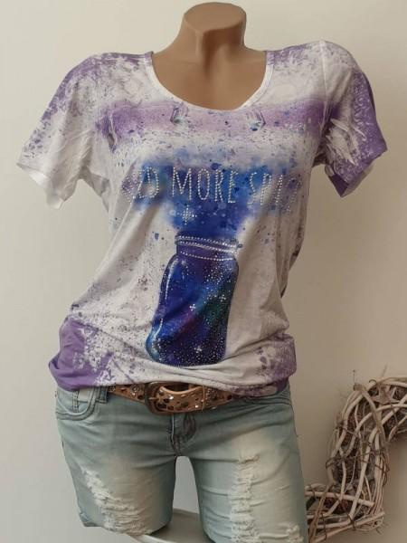 MISSY T-Shirt weiss flieder bunter Print Shirt S 36 Strass Nieten Neu