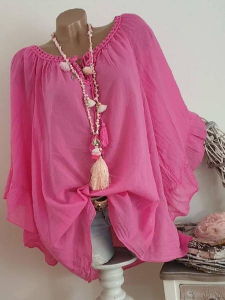 Tunika Bluse 44 46 48 50 Baumwolle Italy Neu weite Ärmel pink