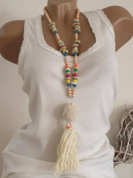 beige Quaste Bommel Kette Halskette Hippie Perlen Charms Neu