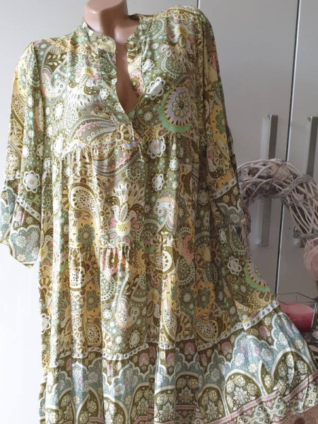 Kleid 40 42 44 oliv grün Paisley gemusterte Tunika Viskose Hängerchen