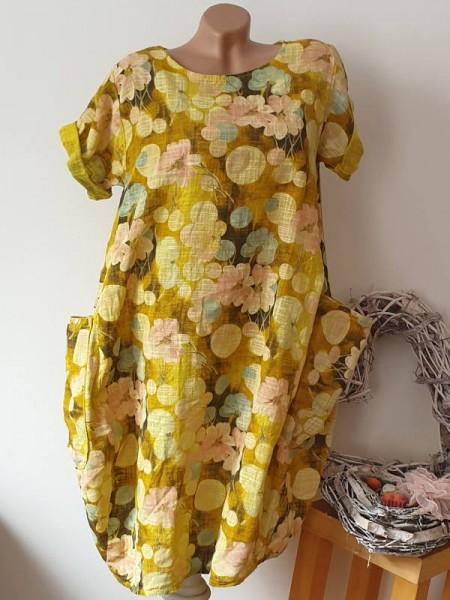 Kleid Ballonform gelb geblümt Taschen 40 42 44 Kurzarm Italy Tunika