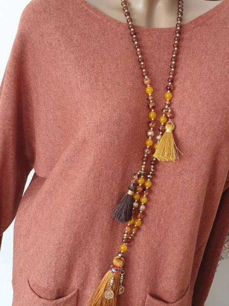 lange Boho Glasperlenkette Glas Perlen Halskette Strass Quaste braun curry