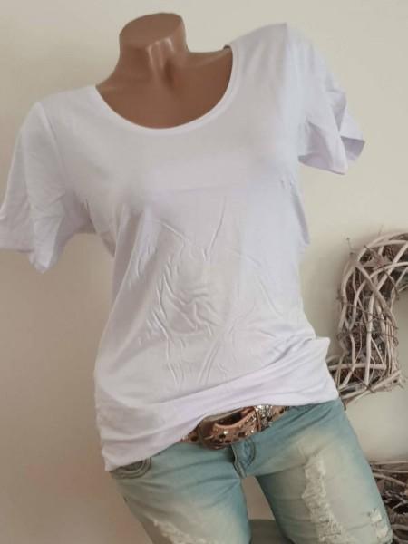 M/L 38 40 MISSY T-Shirt tailliert Rundhals Basic Shirt Neu weiss