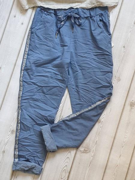 38 40 42 Joggpants Hose jeansblau seitlich Nieten Glitzerband Neu