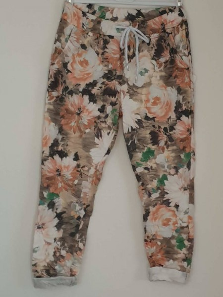 stretchige Joggpant Hose 38 40 42 Tunnelzug Italy Baggy weiss floral