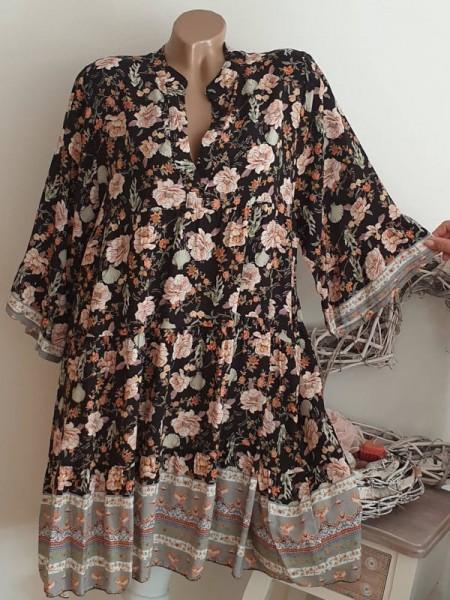 gemustertes Tunika Kleid 40 42 44 Hängerchen Viskose schwarz bunt