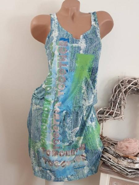 XL 42 Kleid MISSY blau grün Print Tunnelzug tiefe Taille Glitzer