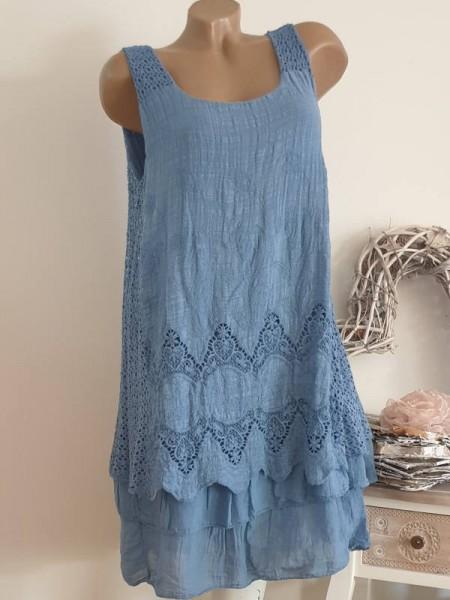 36 38 40 Tunika Kleid jeansblau 2-lagig Stufenkleid Stickerei Spitze