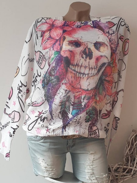 leichter Oversized Italy Strick Pullover Tunika 38 40 42 Popart Skull Print