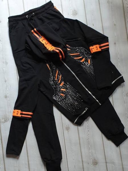 Jogginganzug Jogginghose Zipper Hoodie M 38 2Tlg MISSY schwarz/orange Glitzer