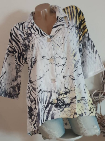 M 38 MISSY Knopfleiste weiss Mouse Tunika Bluse Hemdbluse hinten länger Glitzer
