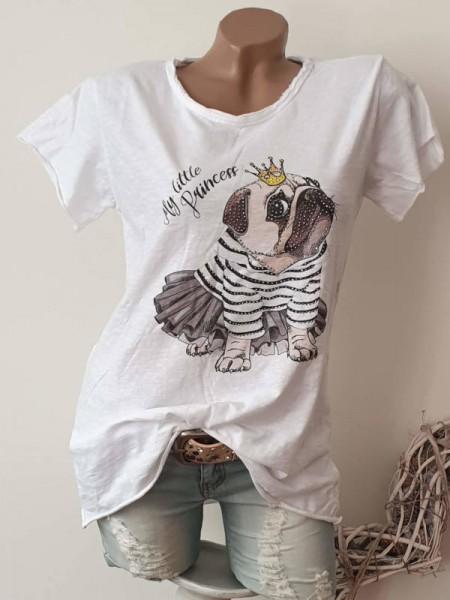 T-Shirt Shirt 36 38 40 42 Tunika süss Mops weiss Glitzer Nieten Print unfinished
