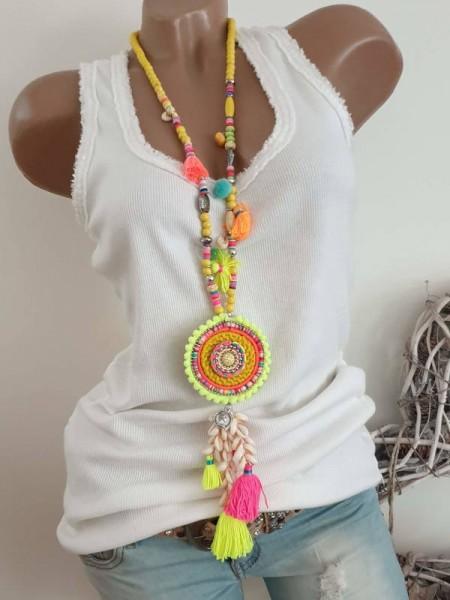 neon gelb bunt Muscheln Kette Halskette Hippie Perlen Charms Neu