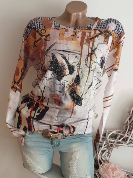 Feinstrickpulli Glitzer Nieten Pullover MISSY L/XL 40 42 Abstrakter Print Face