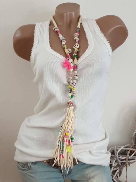 Kette Halskette beige bunt Charms Muscheln Hippie Perlen Charms Neu