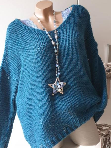 petrol oversized Grobstrick Knit Pullover 38 40 42 44 Pulli Ärmel überschnitten