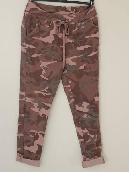 Hose Camouflage altrosa grau gemustert Joggpants Italy Baggy 38 40 42 Tunnelzug