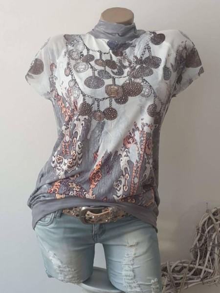 Tunika S/M 36 38 MISSY Ballonform Bündchen Shirt hinten zum binden Glitzernieten