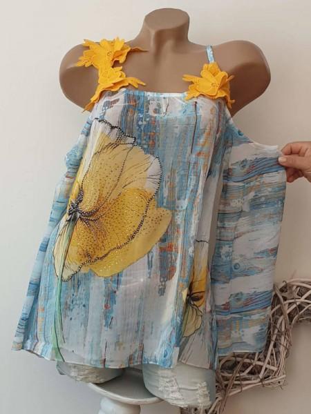 Bluse schulterfrei MISSY XL 42 gelborange bunte Chiffon Tunika Blüten Träger