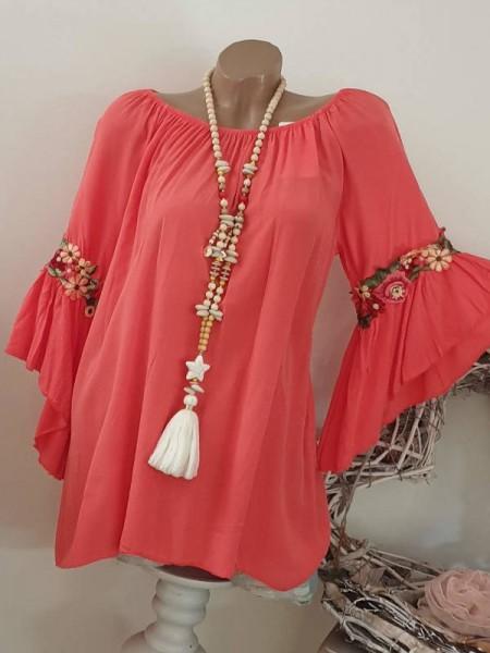 coralle Tunika Bluse 38 40 42 Italy Blütenstickerei Carmen Off Shoulder Neu