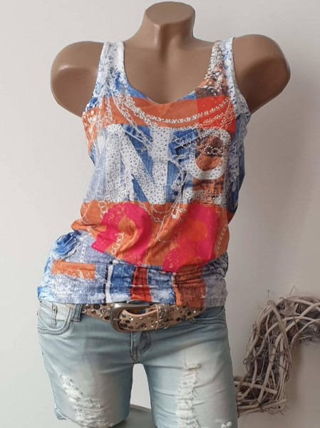 MISSY Top Longtop Shirt Steinchen Glitzer S 36 bunt Number Jeans Print