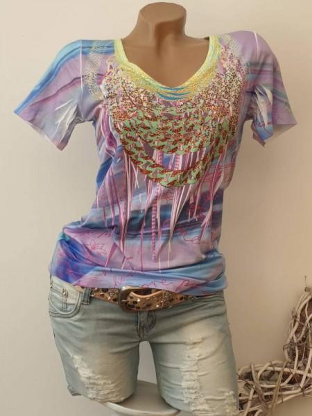 V-Neck MISSY T-Shirt Shirt XL 42 Print Tunika lila bunt Nieten NEU