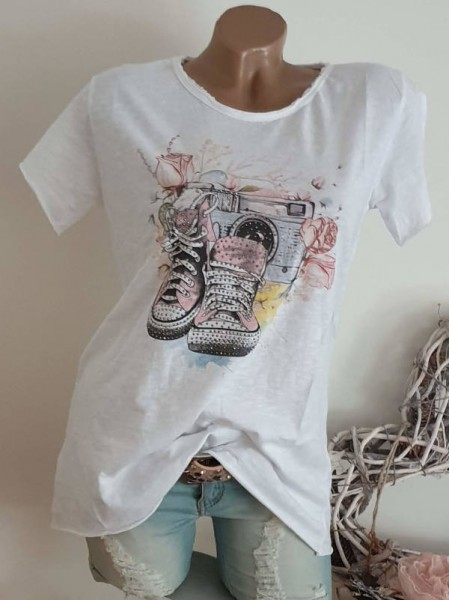 T-Shirt Shirt 36 38 40 42 Tunika Fashion Music Glitzer Nieten unfinished
