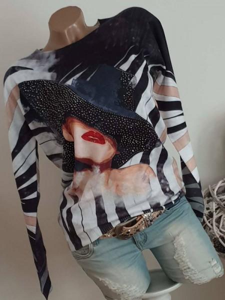 Pullover L/XL 40 42 MISSY schwarz grau weiss Frau mit Hut Pulli Feinstrick