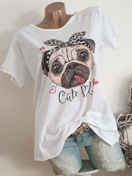 T-Shirt Shirt 38 40 42 Tunika süsser Mops Glitzer Nieten unfinished