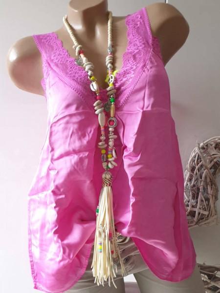 pink 36 38 40 Shirt Untershirt Top Spitze Spitzentop A-Form