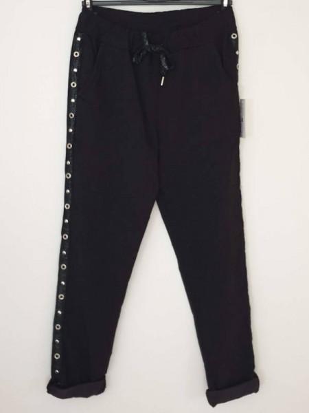 38 40 42 Joggpants schwarz seitlich Oesen und Glitzerband Neu