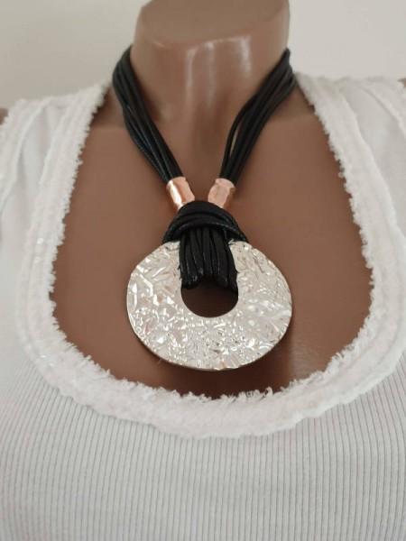 Kurze mehrreihige Kette Halskette Damenkette Amulett schwarz silber Neu