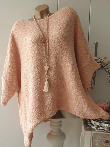 rosa Pulli Überwurf zipfelig kastenförmig Onesize Pullover Knötchenwolle