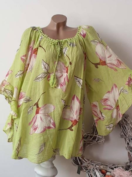weite Ärmel limonegrün floral Tunika Bluse 44 46 48 50 Baumwolle Italy