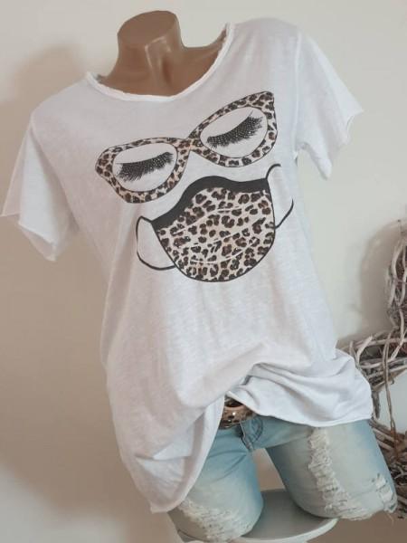 T-Shirt Shirt 38 40 42 Tunika Leo Print NEU weiss