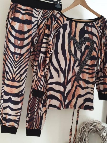 L 40 MISSY Jogginghose Tunika Jogginganzug 2Tlg Sweatshirt Animalprint Glitzer