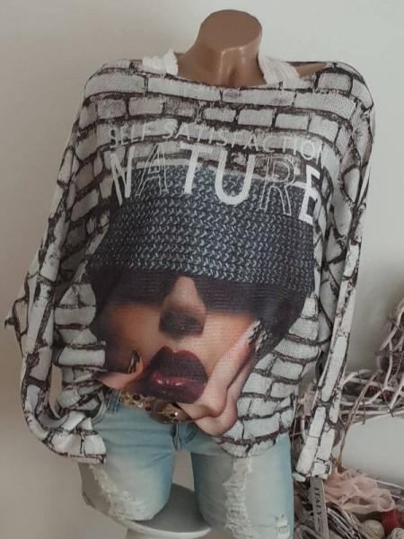 Tunika 38 40 42 44 Pulli Pullover Gesicht Print Fledermausarm Feinstrick