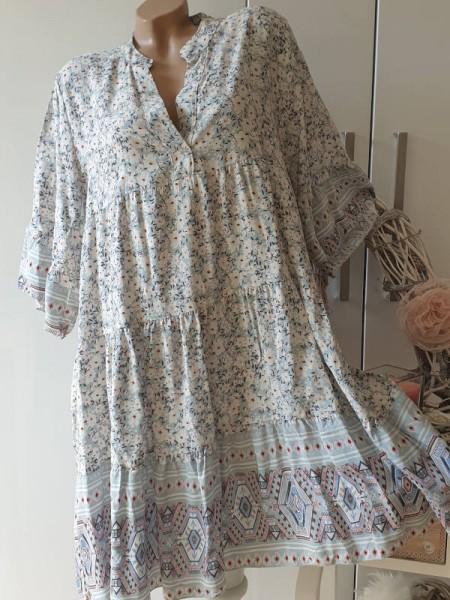 Tunika Viskose Kleid gemustert grau weiss 40 42 44 Hängerchen