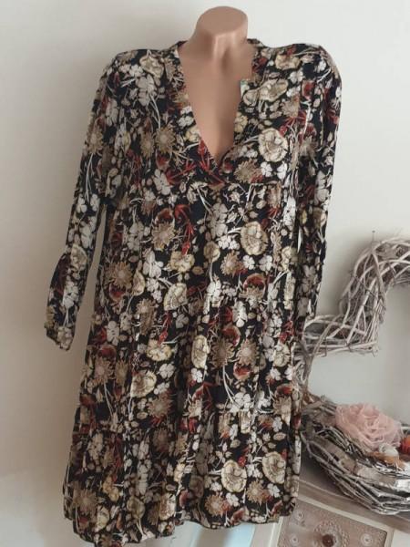schwarz floral Kleid 36 38 40 40/42 long Tunika Kleid Hängerchen Viskose