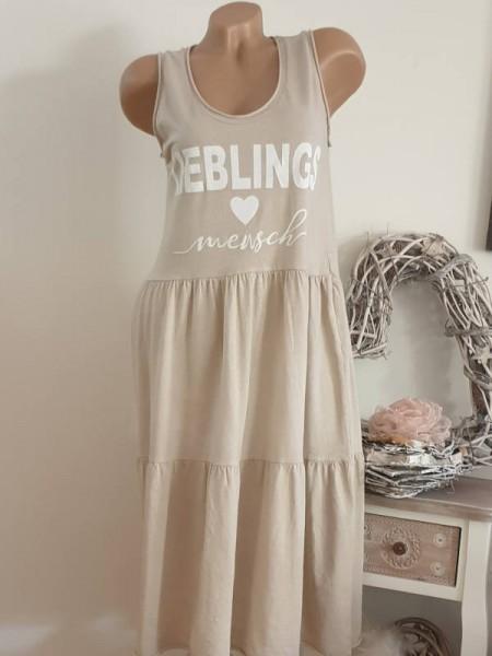 beige Trägerkleid Statement 36 38 40 Tunika Kleid Stufenkleid