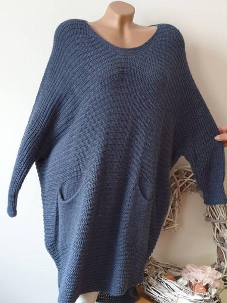 jeansblau Long Pullover Kleid Oversize Strickkleid Taschen 38 40 42 Pulli Italy